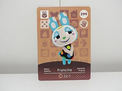 Amiibo Animal Crossing Card Francine Manu no. 299 Top