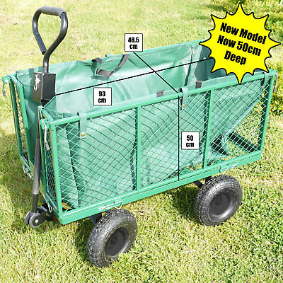 XL Garden Cart Truck Trolley 4 Wheel Wheelbarrow Trailer Heavy Duty 544kgs