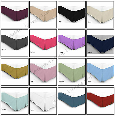 Luxury Plain Dyed Poly Cotton Platform Base Valance Box Pleated Sheet All Sizes