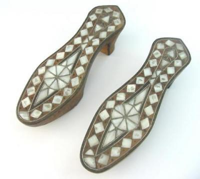 Turkish Turkey Ottoman Antique Inlaid Mother Of Pearl Wooden Shoes Sandals