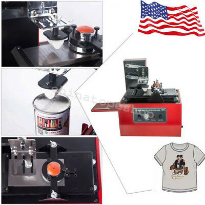 1US ELECTRIC PAD PRINTER PRINTING MACHINE T-SHIRT PVC MUG 15x30MM PLATE INKPRINT