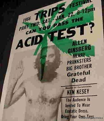 1966 LSD CAN YOU PASS THE ACID TEST TRIPS GRATEFUL DEAD  POSTER 60s drug ART