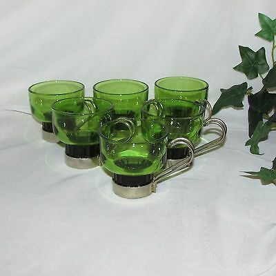 Olive Green Glass Espresso Cups Punch Metal Holder Handle Italy Set 6 Vintage