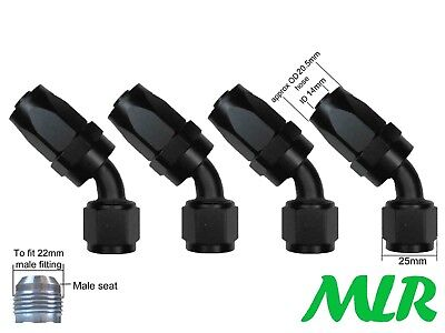 Mlr An -10 Jic 45° Degree Black Oil Cooler Remote Filter Hose Pipe Fittings