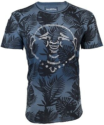 TRUE RELIGION Mens T-Shirt BUDDHA CURVED HEM Indigo $89 Jeans NWT