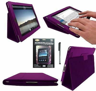 New Ipad 2 Purple Leather Flip Case Cover Typing Stand
