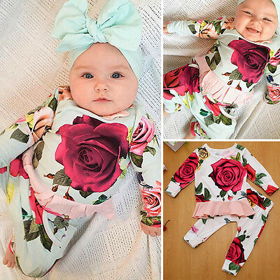 Infant Baby Girls Long Sleeve T-shirt Tops+Floral Pants Outfits Set Tracksuit UK