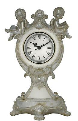 Tall Silver & White Angels Cherub Table Mantle Clock Gift 29cm