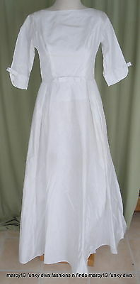 Sweet Vintage 60's White Satin Wedding Gown Bridal Dress w Train Bust 31""