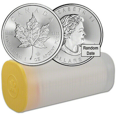 Canada Silver Maple Leaf (1 oz) $5 Random Date - 1 Roll - 25 BU Coins Mint Tube