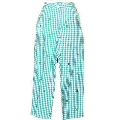 LILLY PULITZER Blue Cotton Blend Capri Ice Cream Cones Gingham Pants 4 Sloanes