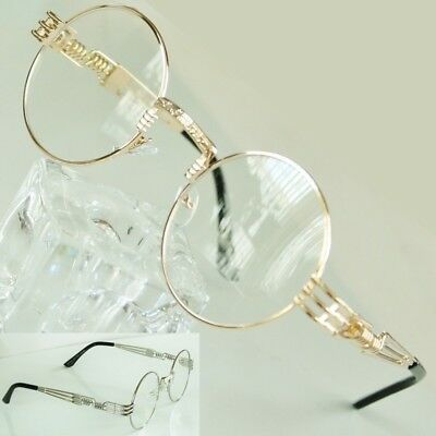 Round Clear Lens Eye Glasses Decor Spring Accent Gold or Silver Sunglasses Frame