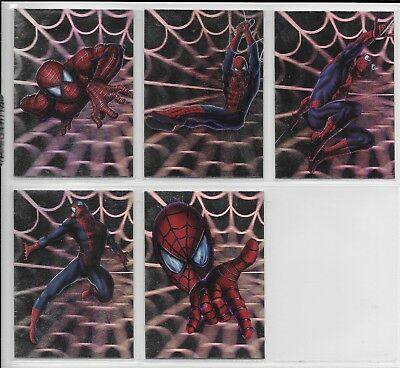 Topps 2002 Spiderman Movie SPIDEY HOLOGRAM Complete INSERT CHASE CARD Set H1-H5