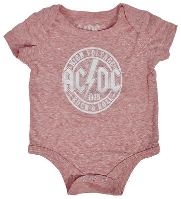 AC/DC Infant Romper Heather Red Classic Rock Band Logo Print