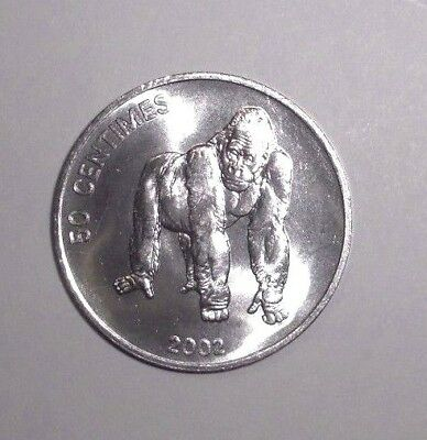2002 Congo D.R. 50 centimes, Gorilla, animal, wildlife coin