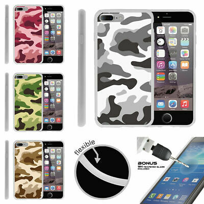 """For Apple iPhone 7 Plus (5.5"""") Flexible TPU Case + Tempered Glass Army Camo"""