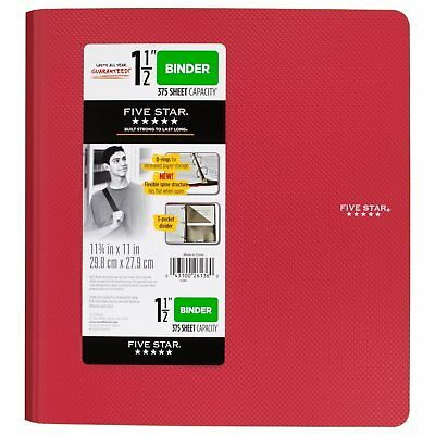 Five Star 1-1/2 Inch 3 Ring Binder, Plastic, Red 38910