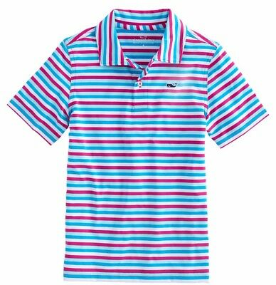 Vineyard Vines Performance Boys Red Violet Four Color Gill Stripe Sankaty Polo
