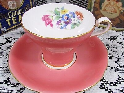 Aynsley Blush Pink Floral Spray Corset Style Tea Cup And Saucer