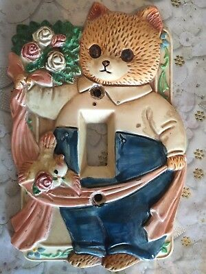 Vintage Wall Light Switch Plate Cover Teddy Bear Takahashi Japan Baby Room Decor