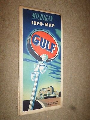 """c.1939 Gulf Oil Co. """"Highway Road Map Michigan"""" Dealer Street Guide"""