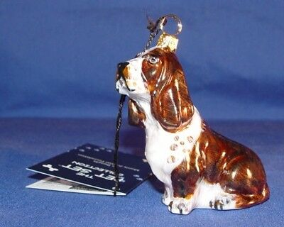 Basset Hound Red and White Handblown Glass Christmas Ornament Made in Poland