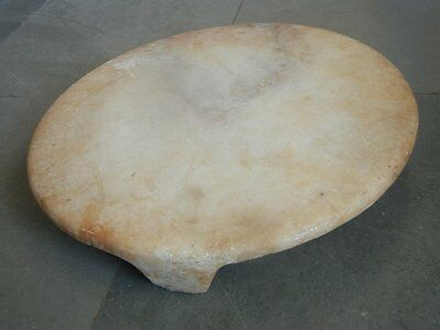 Old White Marble Stone Plate Round Solid Handcrafted Chappati Board / Chaklota