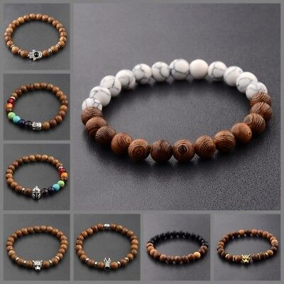 Men's Woman Owl Buddha Crown Lion Wooden Beaded Energy Yoga Reiki Bracelets 8MM