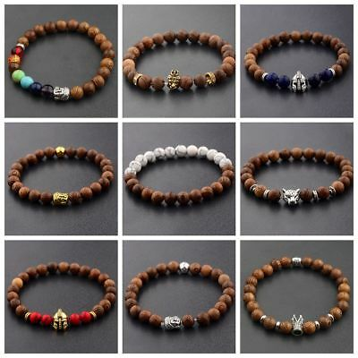 Man Owl Buddha Crown Lion Wooden Beaded Energy Yoga Reiki Woman Bracelets 8MM