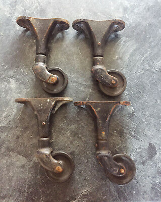 4  x LARGE Antique Industrial Casters Cast Iron Steampunk Heavy Duty Cart Wheels