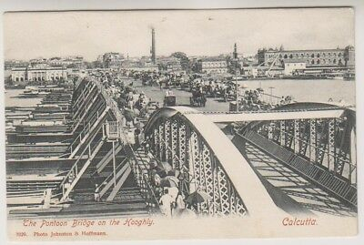 India postcard - The Pontoon Bridge on the Hooghly, Calcutta