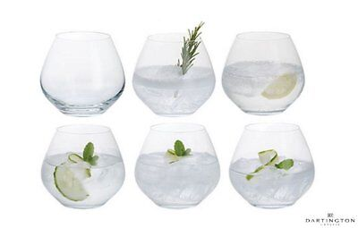 Set of 6 Dartington Stemless Gin And Tonic G & T Copa Balloon Party Glasses Gift