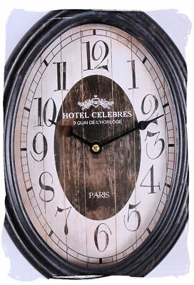 Nostalgic Clock Metal 20er Years Style Wall Clock Antique Hotel Celebres