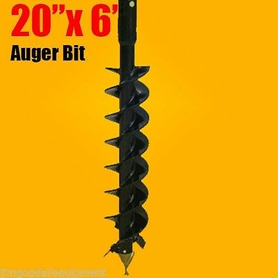 """20""""x 6' Auger Bit HDC 2.56"""" Round, For Difficult Digging Conditions, Made In USA"""
