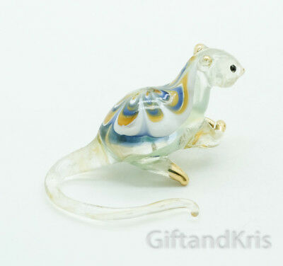 Figurine Animal Hand Blown Glass Rat Mouse No Painted w/ Painted Gold Trim - 005