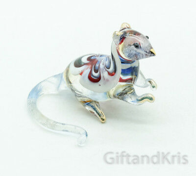 Figurine Animal Hand Blown Glass Rat Mouse No Painted w/ Painted Gold Trim - 006