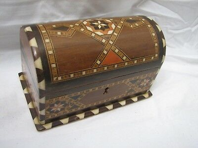 Vintage Inlaid Wooden Marquetry Trinket Dresser Top Box Jewelry Chest Inlay Wood