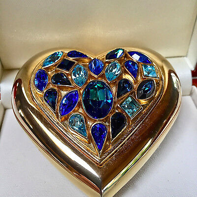 Yves Saint Laurent (Ysl) Blue Jewel Heart Shaped Powder Compact