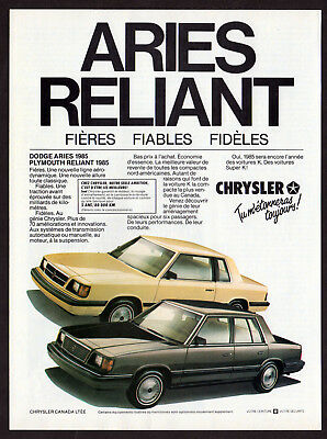 1985 DODGE Aries & PLYMOUTH Reliant Vintage Original Print AD Chrysler French CA