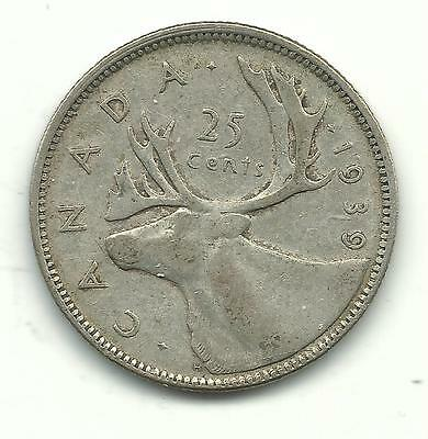 Very Nice Better Grade Vintage 1949 Canada 25 Cents Silver Coin-Jan612