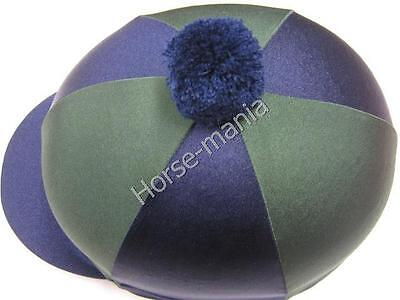 Hy Navy/green Pom Pom Riding Hat Silk Cover For Jockey Skull Caps One Size