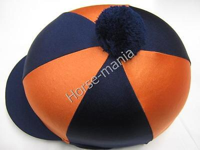 Hy Navy/orange Pom Pom Riding Hat Silk Cover For Jockey Skull Caps One Size
