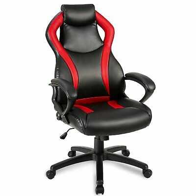 Merax Racing Style Leather Gaming Chair Office Desk Chair Pu Leather Swivel Red
