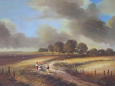 Charming Ted Dyer Original Oil Painting - Rural Landscape Scene With Children