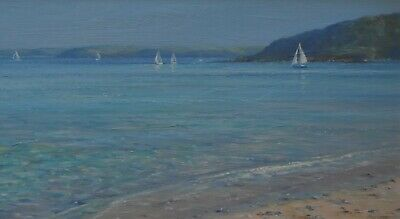 Fine Ted Dyer Original Oil Painting - Sailing Boats Penzance Point Cornwall