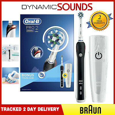Braun Oral-B PRO 2 2500N Electric Rechargeable Power Toothbrush Gift Case-Black