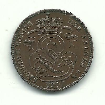 A Very Nicely Detailed High Grade 1907 Belgium 1 Centime Coin-Dec943