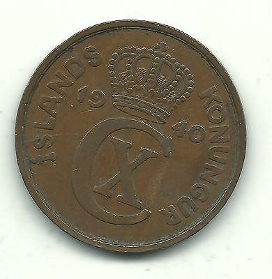 A Very Nice World War 2  High Grade 1940 Iceland 5 Aurar Coin-Dec732