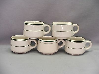 Set 5 Iroquois Syracuse China Restaurant Ware Green Rings Stoneware Coffee Cups