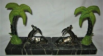 Antique Art Deco French Tropical Palm Tree Antelope Marble Base Book Bookends Us